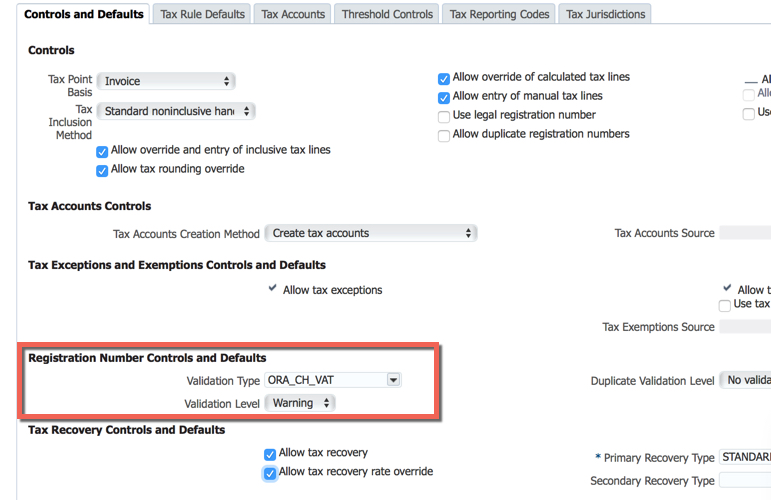 Oracle Fusion Tax: How to override the VAT registration